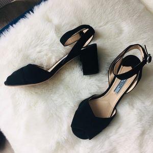 Prada Suede Peep Toe Ankle Strap Block Heels
